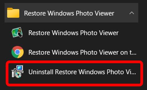 Windowsフォトビューアーのアンインストール