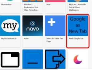 拡張機能のNEW Google Tab