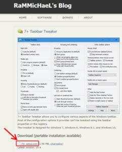 7+ Taskbar Tweakerのダウンロードページ