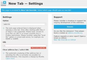 New Tab Settingsのページ