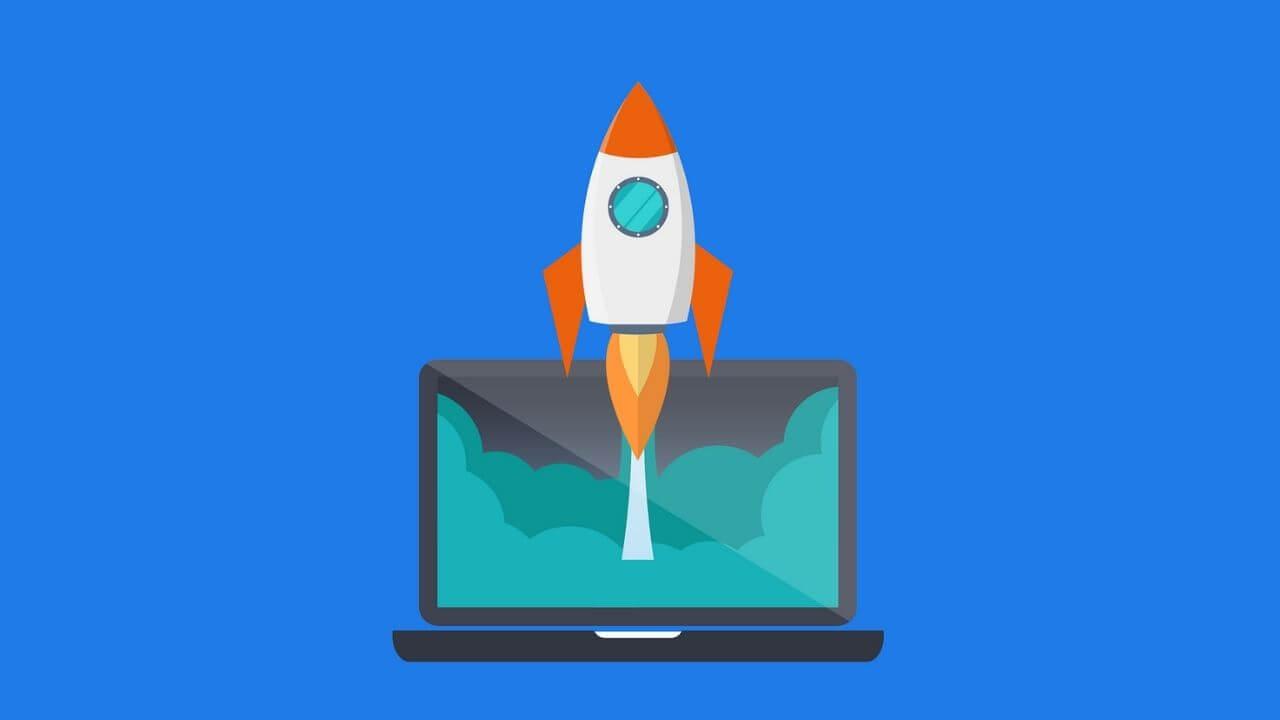 PCとロケットのイメージ画像
