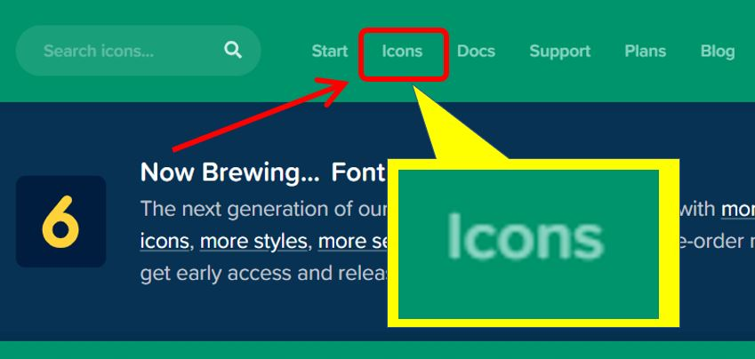 Font AwesomeのIconsをクリック
