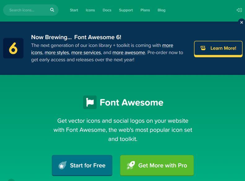 Font Awesomeのホームページ