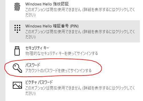 サインインオプションのパスワード