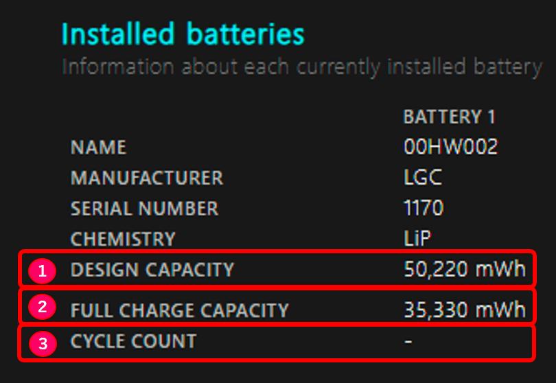 バッテリーレポート3項目